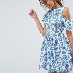 ASOS Women's Blue Sleeveless Broderie Skater Dress